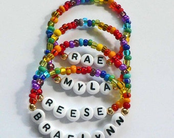 Rainbow Party Favor Name Bracelet Personalized Children's Jewelry available in Infant Child Toddler Sizes Stocking Stuffer