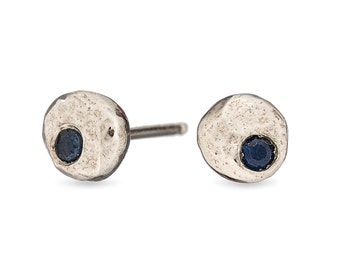 Pebble sterling silver studs // sapphire //aquamarine // citrine //amethyst // garnet // smokey quartz