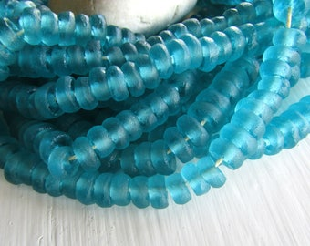 Blue Recycled glass beads , teal  rondelle , rough  irregular organic ,  indonesia 4 to 5 mm x 8 to 10 mm  / 20  pcs  -  7ab88