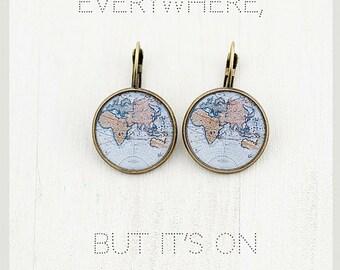 World Map Earrings - World Earrings - Globe Earrings - Gift for Women - Gift for Traveler - Surgical Steel Earrings - Light Blue Earrings