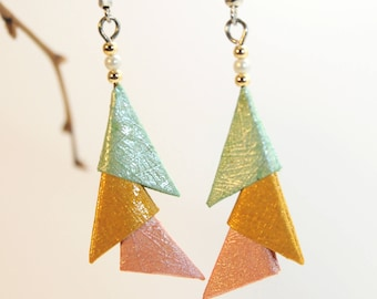 """Origami """"Mtaliss Blue Gold Pink Triangles"""" earrings"""