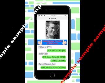 Phone Text Teen Customized Photo Birthday Invitation