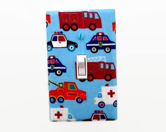 Emergency Vehicles Light Switch Cover - Firetruck Switch Plate Cover - Boys Decor