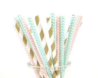 Gold, Pink and Dark Mint/Aqua Green Chevron Paper Straws - Set of 25 Straws - Girl's Birthday Party - First Birthday
