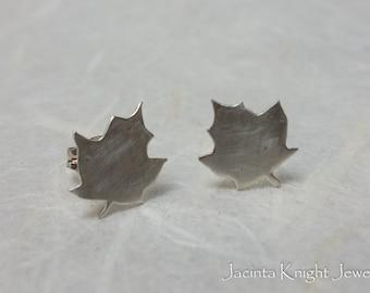 Sterling silver maple leaf studs