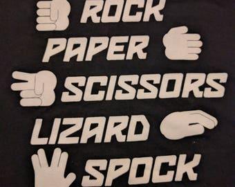 Rock Paper Scissors Lizard Spock Black T-shirt Size L