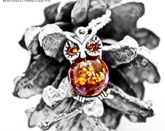 "Baltic Honey Amber Owl set in Sterling Silver on 925 18"" Sterling Silver Necklace"