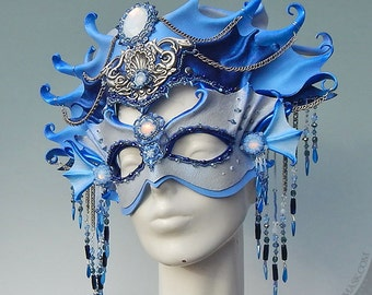 Mermaid Leather Mask and Headdress - IN STOCK - Opulently Beaded Mixed Media Wearable Art Siren Costume, Mermaid Crown, Theater, Ren Faire