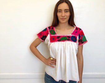 Frida Blouse // vintage dress top shirt ethnic boho hippie woven tunic cotton white neon embroidered Mexican Guatemalan 70s 1970s / O/S