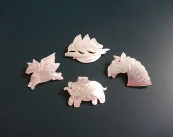 Three Vintage MOP Mother Of Pearl Shell Elephant, Ship & Horse Brooch Pins