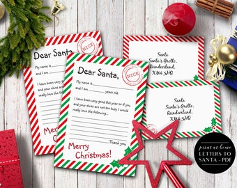 Letters to Santa Printable, Instant Download, Santa Letter, Santa List, Letter to Father Christmas, Christmas List, Christmas Letters, A5