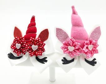Valentine Unicorn, Valentines Day Hair Bows Valentine Hair Clips, Pink Unicorn, Red Unicorn,