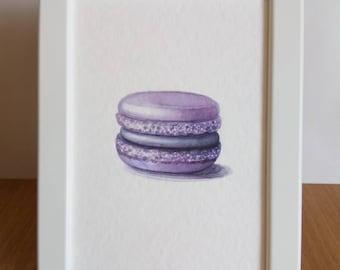 lilac watercolor / paris art / macaron painting / mauve wall art / purple decor / fashion illustration / 7x5 original art / food paintings