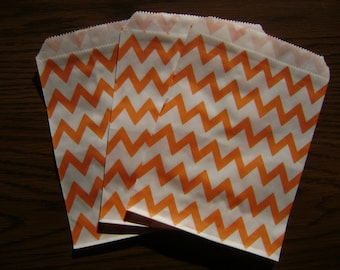 25 Orange and White Chevron Candy Bag for Birthday Party, Wedding Shower, Baby Shower, Paper Favor Bag,  Cookie Treat Wrap