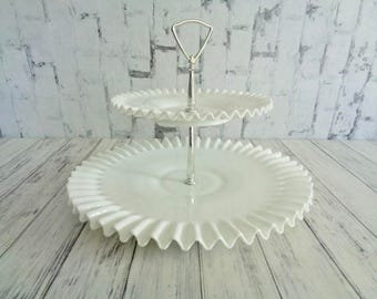 Fenton Hobnail Milk Glass Two Tier Cookie Cupcake Tidbit Hors Doeuvres Cake Stand, Hobnail Milk Glass Tier Tidbit Stand, Valentines Day Gift