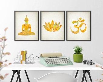 Yoga Colorful Watercolor Wall Art Print Set of 3, Om Spiritual Meditation Yoga Class, Yoga Pose, Buddha, Lotus Flower, Ohm