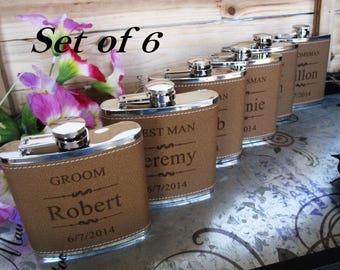 6 Groomsmen Flask Set Personalized