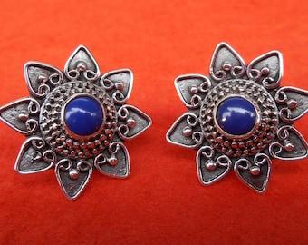 Sterling Silver Lapis lazuli stud Earrings / Granulation handmade jewelry / silver 925