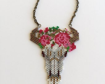 Cow skull beaded necklace