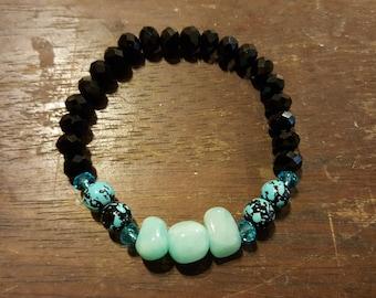 SALE ITEM - Cool Blue & Black Bracelet