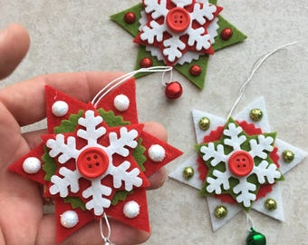 set of 3 star hanging decoration, Christmas, Star felt snowflake, Bell, Bell embellishment