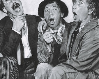 Drawing Print of the Marx Brothers