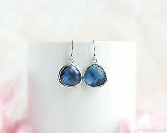 Montana blue glass earrings, Silver navy blue drop earring Sapphire blue teardrop earrings September birthstone September birth gift for her