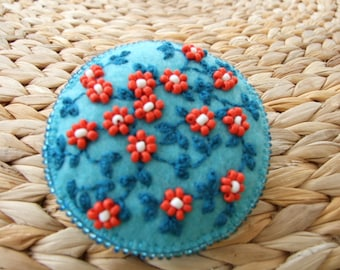 Hand Embroidered Felt Pin with Vines and Beaded Flowers