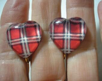 "Earring - Clip - Tween - Plaid Heart - Pink - 3/4"""