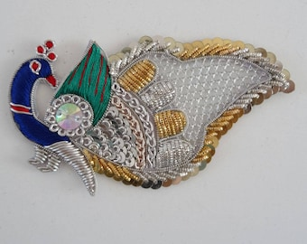 Peacock silver thread applique, embroidered green and blue