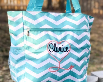 Many Colors! Nursing Student, Student Nurse Bag, Nurse Tote Bag, Gray Shoulder Bag, Chevron Tote Bag, RN bag, Caduceus Bag, Stethoscope Bag
