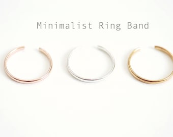 Minimalist Thin Ring Band, Adjustable Ring, Choose Sterling Silver, Gold, Rose Gold, Wedding Band Ring, Simple Everyday Ring, Open Ring,