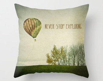 decorative pillow cover- home decor- modern- green- photo pillow- nature-trees-surreal- typography-landscape
