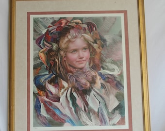 Vintage Lithograph Colorful Girls Face