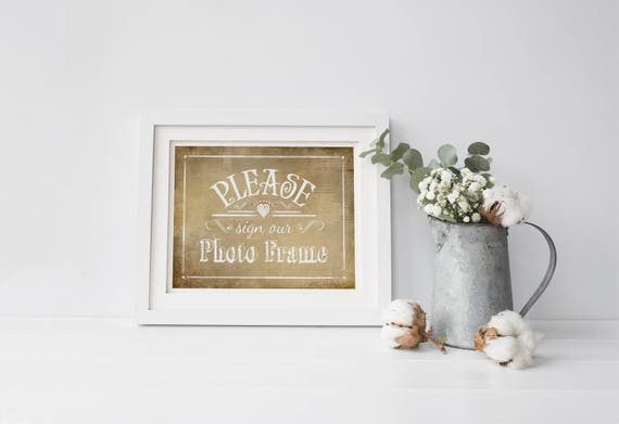 Sign our PHOTO FRAME | PRINTED Rustic Wedding Guestbook Alternative, Reception Sign, Anniversary Guestbook, Unique Guestbook signs, Sign in