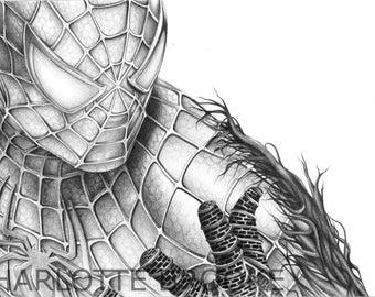 Spider-Man Pencil Drawing Portrait Print