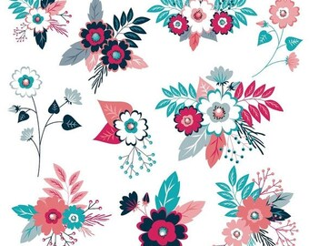 Flower Clipart, Floral Clipart, Flower Clip Art, Digital Flowers, Navy Flowers, Pink Flowers, Wedding Flowers, Commercial Use,