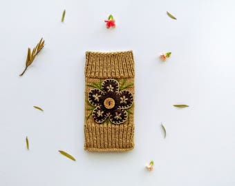 Hand Knitted Phone Case With Floral Embroidery, Woollen, Smart Phone Pouch, Apple iPhone 6, 6S, 7, Samsung Galaxy S4, S5, S6, S7, S7 Edge