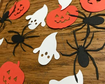 Halloween Table Scatter Confetti - Ghost, Spider, and Pumpkin - Black, white and orange
