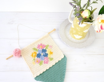 Patterns for Crochet, Girls Room, Country Chic, Flower Decoration, Wall hanging, Floral Crochet, Spring Theme, Home Decor, Living Room