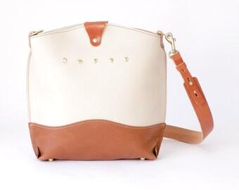 Ivory and Brown Leather Shoulder Bag - CAROLINA Handbag