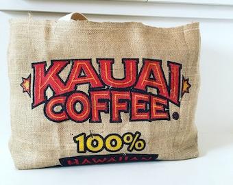 Kauai Coffee Sack Tote/ Beach Bag / Market Tote