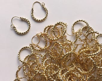Wholesale 50 pairs small twisted texture vintage  hoop earrings, small hoop earrings boho style, gold plated hoop earrings