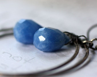 Denim Blue Sterling Silver Hoop Earrings  Blue and Silver Boho Hoop Earrings   Handmade Blue Drop Sterling Silver Earrings