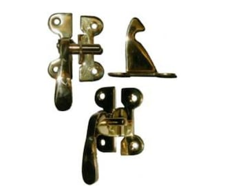 Brass Latch - Polished Brass McDougall Style Left Hand Offset Cabinet Latch - McDougall Cabinet