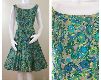 50s 60s Hovland-Swanson Green Floral Rhinestone Cocktail Dress, Size Medium