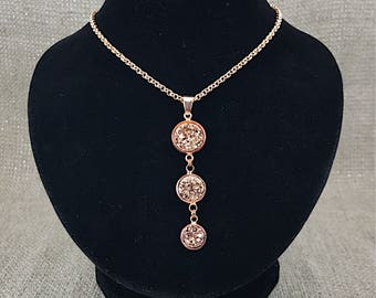 Bridesmaid Gift - Rose Gold Druzy Necklace - Rose Gold Necklace - Rose Gold - Jewelry - Necklace - Bridesmaid Jewelry - Rose Gold Jewelry -