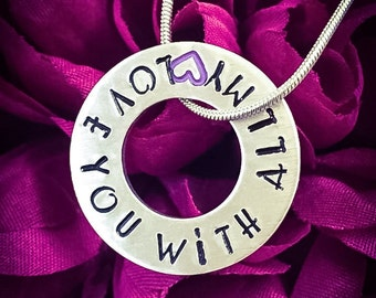 Love You With All My Heart Hand Stamped Necklace. Washer Necklace, Heart Necklace, Love Necklace, Love Jewellery, Girlfriend Gift, Wife Gift