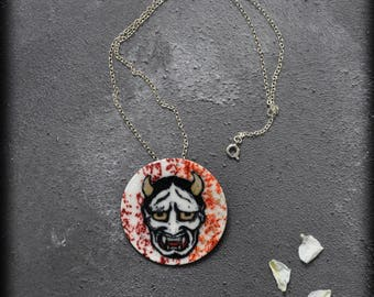 Hannya Mask Pendant / Brooch, OOAK Handmade Faux Leather Japanese Art Inspired Two-way Jewelry with a Gothic Touch