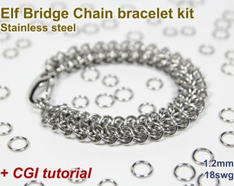Elf Bridge Chain Bracelet Kit, Chainmaille Kit, Stainless Steel, Chainmail Kit, Jump Rings, Box Chain Tutorial, Chainmaille Tutorial